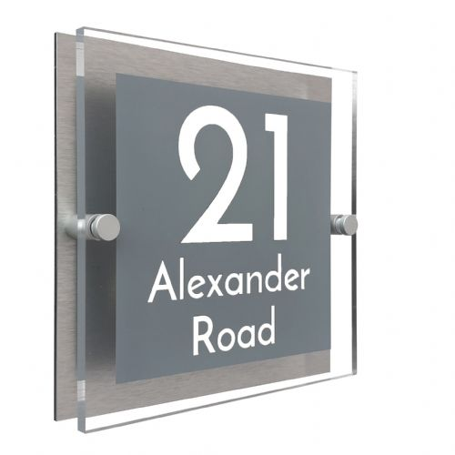 Block Shape - Clear Acrylic House Sign - Mid Grey Colour with White text in Font  3